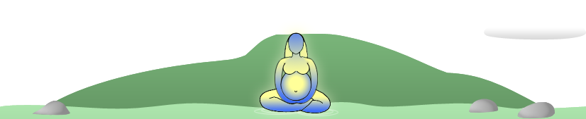 Pregnant woman sitting in front of mountain